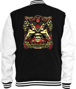 Jacke Hot Sweat Lucky Biker 7 Vintage V8 College Rockabilly Rod Pinup q4ZUwaE