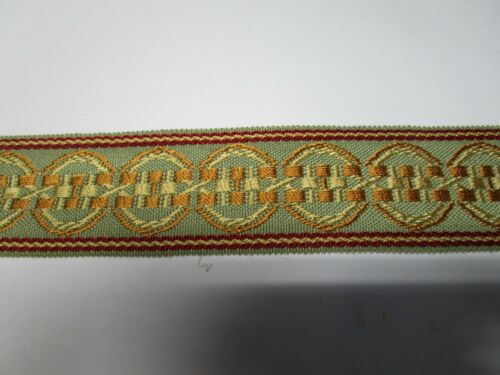 "13.5 yards 2/"" Flat Woven Braid RED//GREEN//GOLD Decorative Fabric Trim ALT7089"