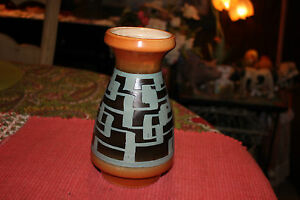 Vintage Israel Mid Century Modern Pottery Vase W/Handpainted Shapes-Marked Bottm