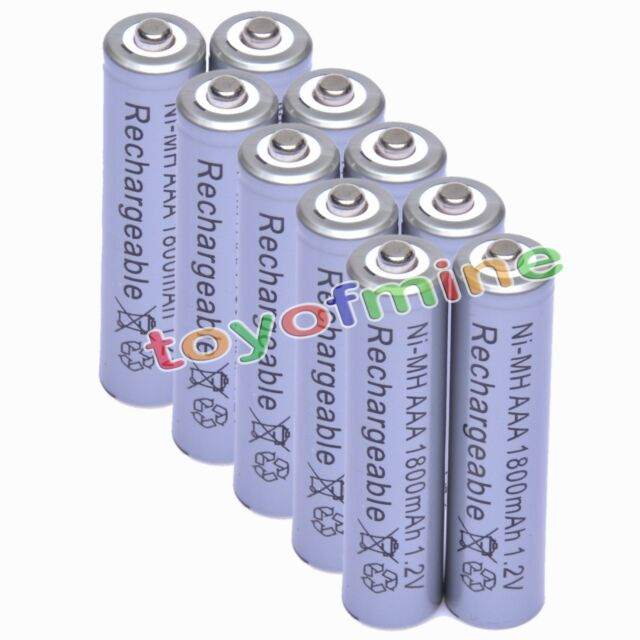 10x AAA 1800mAh 1.2V Ni-MH Rechargeable battery 3A Grey Cell for MP3 RC Toys