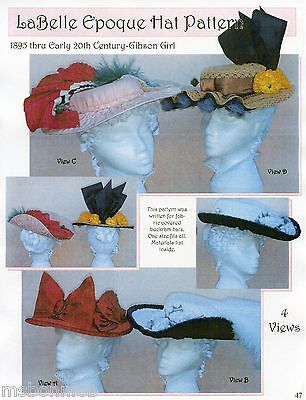 La Belle Epoque 1895 - Early 1900s Gibson Girl Hat Lynn McMasters Sewing Pattern