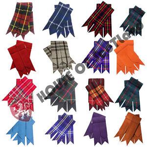 HW Highland Kilt Hose Sock Flashes Various Tartan//Scottish Kilts Socks flashes