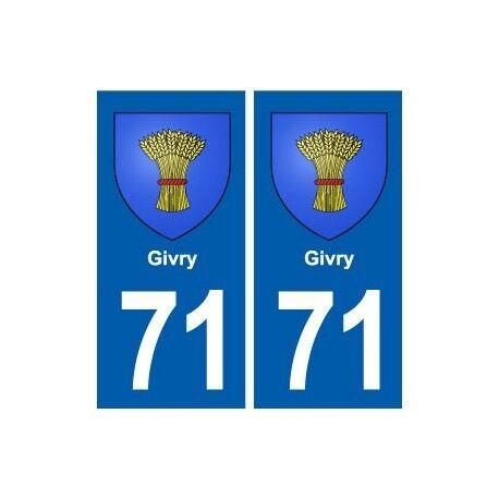71 Givry blason autocollant plaque stickers ville droits