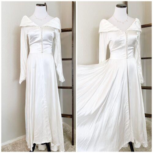 Vintage 40s/50s Wedding Dress Satin Long Sleeves B