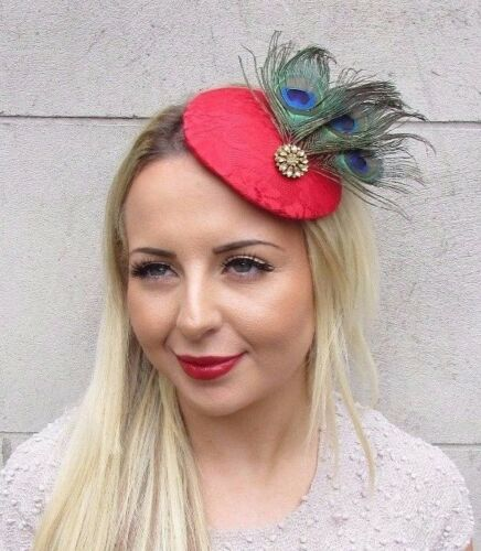 Red Gold Green Peacock Feather Fascinator Pillbox Hat Hair Clip 1940s Races 3165