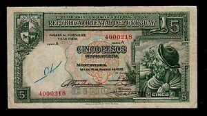 Uruguay 5 pesos L. 1935 Serie A Pick # 29 F-VF Billete-  ver título original - España - Uruguay 5 pesos L. 1935 Serie A Pick # 29 F-VF Billete-  ver título original - España