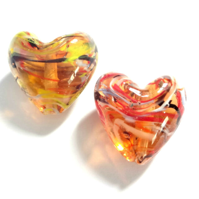 20 Topaz Lampwork Glass 20mm Puff Heart Beads
