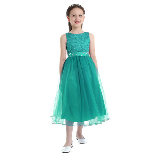 Girls Princess Pageant Wedding Bridesmaid Dress Children Party Flower Girl Dress