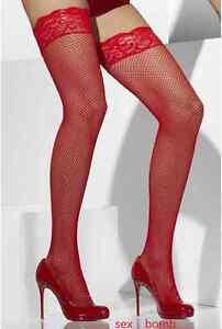 competitive price f3235 d98f3 Dettagli su SEXY calze autoreggenti silicone ROSSE micro rete intimo  lingerie GLAMOUR