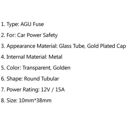 5 × AGU Sicherun Auto Audio Leistung Sicherheit Glas Tube Gold Plattieren 15A F3