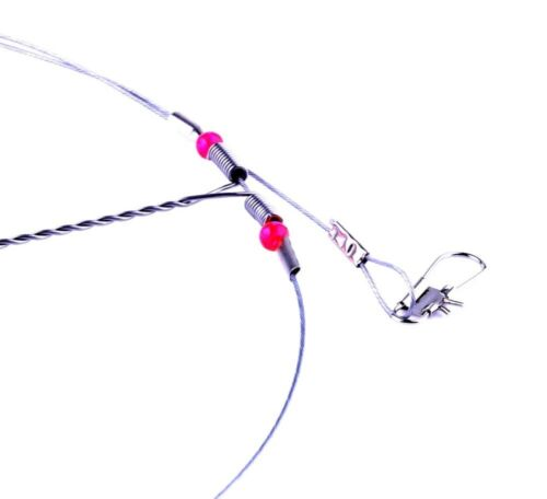 10 Pack Top Bottom Rig Steel Stainless Wire Trace Leader w// Snap Swivel:1-5 arms