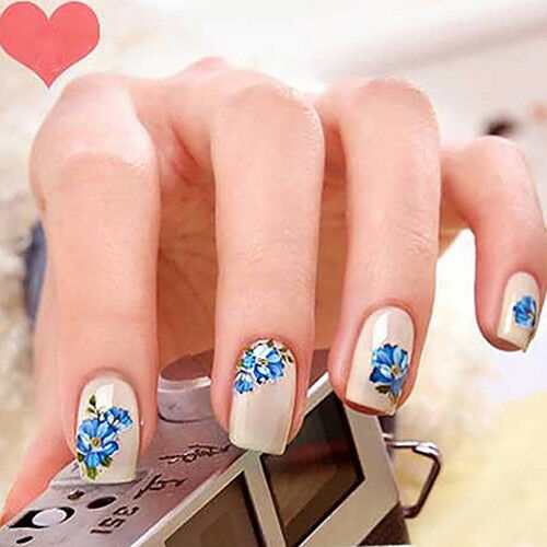 HR- 30 Sheet 3D Mix Color Floral Design Nail Art Stickers Decals Manicure Peachy