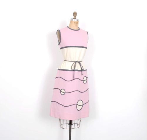 Vintage 1960s Dress Mod Geometric Shapes Knit Wool