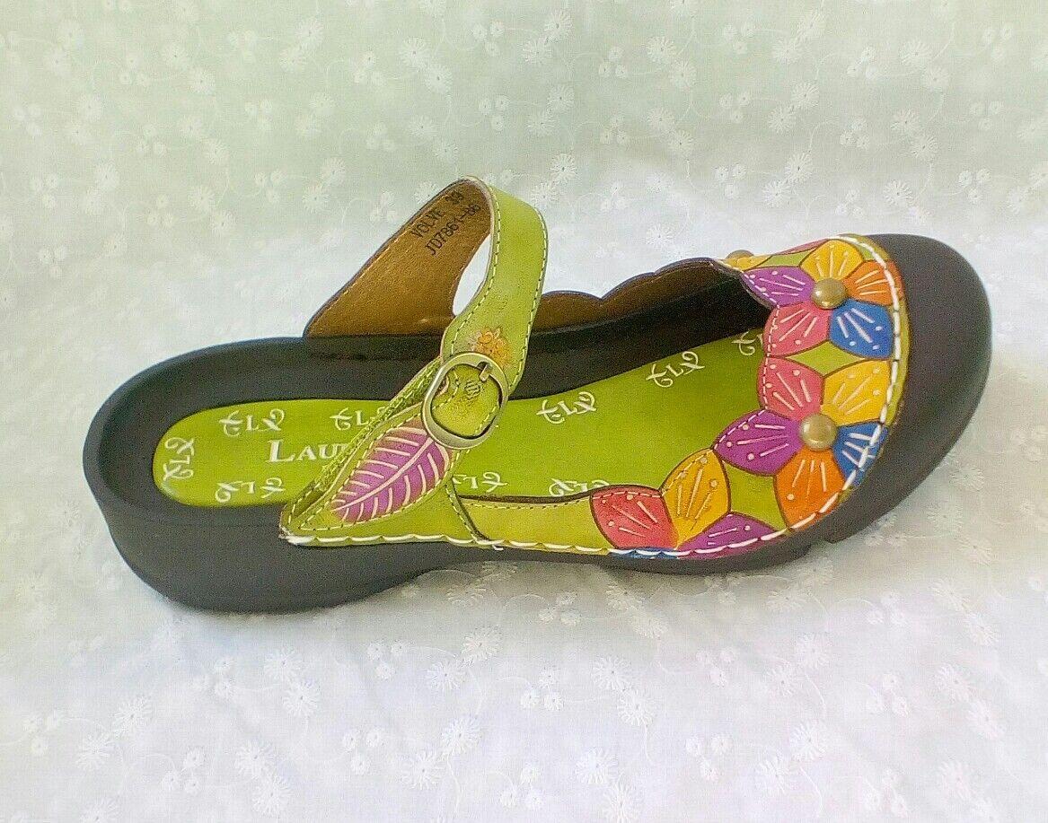 Laura Vita JD7861 Volve Ania  Schuhe Damen Pantoletten grün Clogs