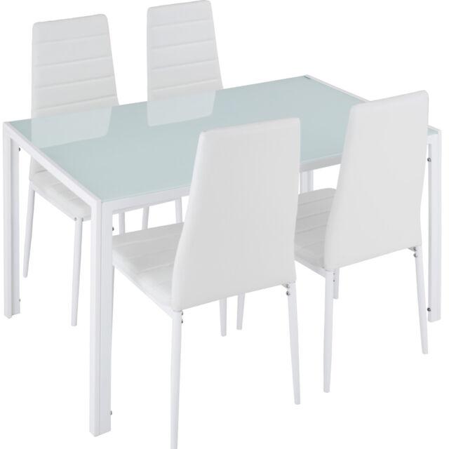 Tavolo Pranzo Bianco.Tectake Berlino 4 1 Set Di Mobili Per Sala Da Pranzo Bianco 402838