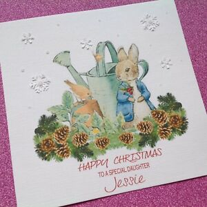 Glitter Christmas Cards.Details About Personalised Handmade Peter Rabbit Glitter Christmas Card Daughter Son Nephew