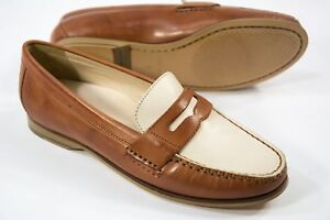 5721ca86d0e Women s Cole Haan size 5 Tan Ivory Emmons Penny Loafer Leather Slip ...