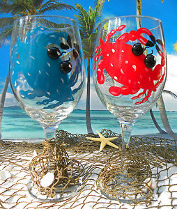 Crab Themed Hand Painted Wine Glasses Beach Tropical Nautical Gift