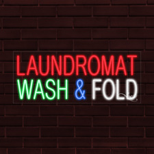 Brand New Laundromat Wash Amp Fold 32x13x1 Inch Led Flex Indoor Sign 31434