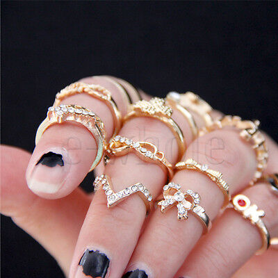 1 Set 7PCS Punk Crystal Bowknot Knuckle Midi mid Finger Tip Stacking Rings EW