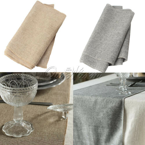 Rustic Jute Burlap Table Runner Natural Imitated Linen Table Cloth Wedding Decor by Ourwarm