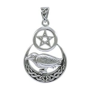 Morrigan raven moon pentacle pendant celtic jewelry bird necklace image is loading morrigan raven moon pentacle pendant celtic jewelry bird mozeypictures Choice Image
