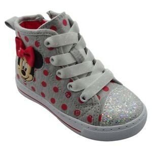 DISNEY MINNIE MOUSE SHOES   GRAY RED DOT HIGH TOP ZIPPER SNEAKERS ... 595bc66742