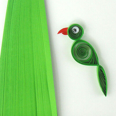 10mm wide 100 quilling self adhesive paper strips in parrot green