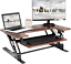 vivo dark wood height adjustable 36 inch stand up desk converter, quick sit to