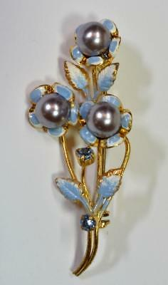 Stunning Gold Tone Made In Austria PinBrooch With Faux Pearl