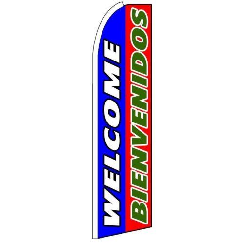 WELCOME BIENVENIDOS Half Curve PREMIUM WIDE Swooper Flag English Spanish