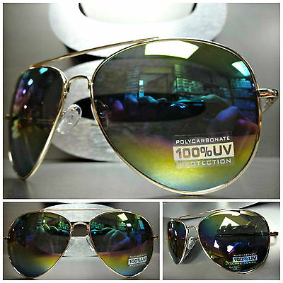 Mens or Women NEW CLASSIC VINTAGE Style RETRO SUNGLASSES Gold Frame Rainbow Lens