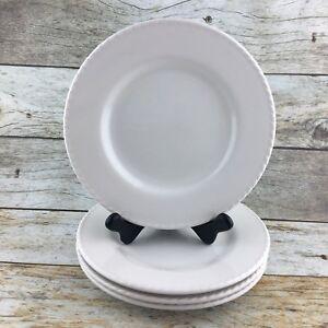 PIER-1-ONE-Ironstone-Blanca-White-Embossed-Rim-Salad-Dessert-Plates-Brazil-Set-4