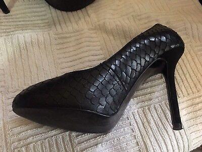 ZARA Damen Pumps,Ballerinas,Gr.37,schwarz,LEDER,High Heels,Silvester Schuh