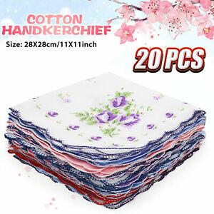 20Pcs-Lot-Ladies-Women-Vintage-Cotton-Quadrate-Hankies-Floral-Handkerchief-Decor