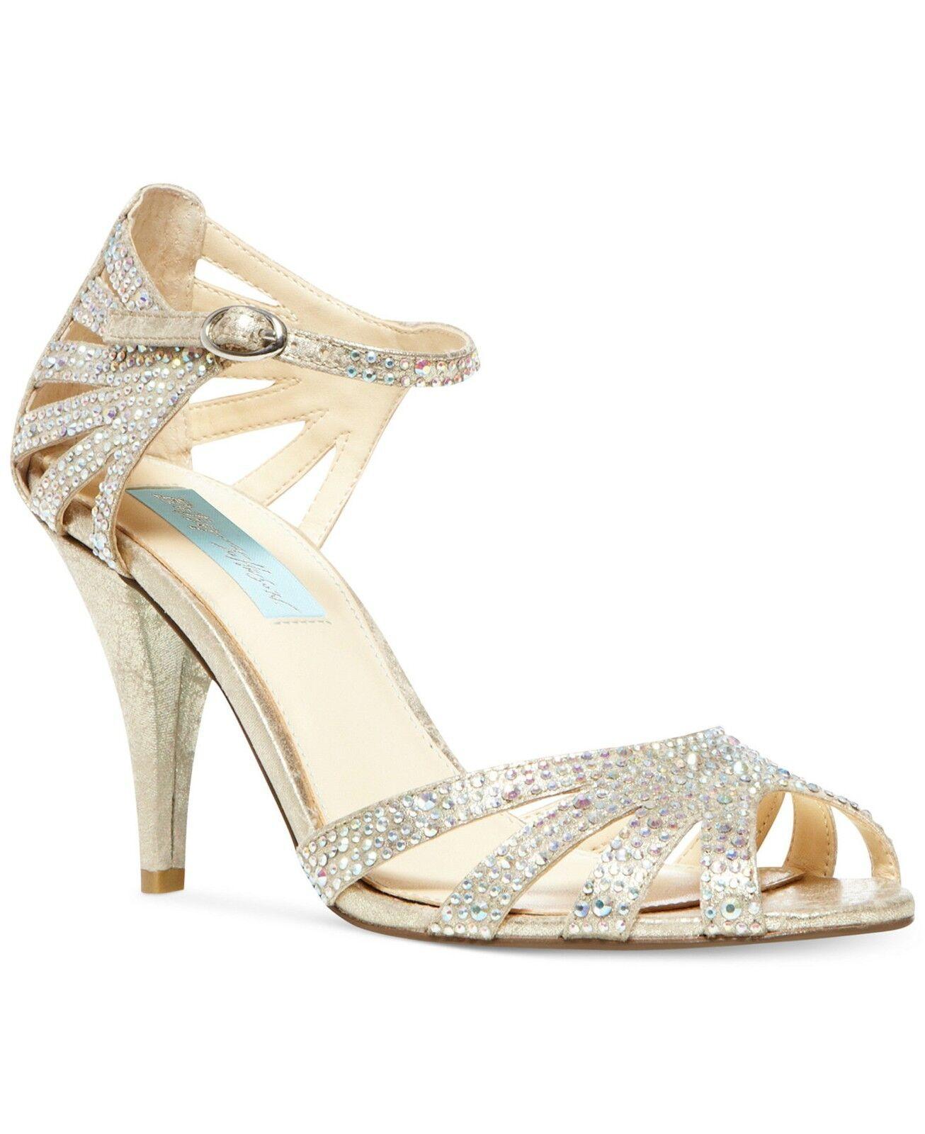 Blå av Betsey Johnson Sweet Rhinestone Embellieshed Evening Open Open Open Toe Sandals ny  stor rabatt