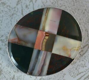 Scottish-Victorian-Silver-Agates-amp-Bloodstone-Cross-Brooch-c1880