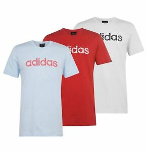 Mens Adidas Regular Cotton Comfortable Top Linear T Shirt Sizes from S to XXL