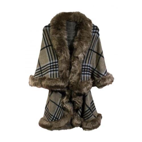 New Women Check Style Large Winter Faux Fur Poncho Warm Shawl Christmas Gift  UK