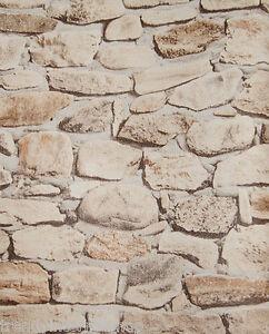 Das Bild Wird Geladen Tapete Steine Mauer Steinoptik Bruchsteine Steintapete  Beige Braun
