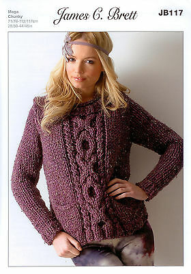 Ladies SweaterJB117 Knitting Pattern James C Brett Rustic Mega Chunky