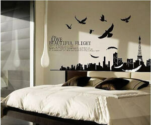 Feather-Paris-Eiffel-Tower-Landscape-Bedroom-Removable-Wall-Sticker-Decal-Paper