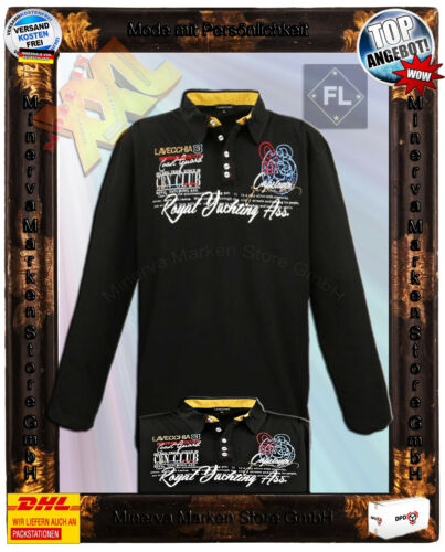 Übergrößen Laveccia Poloshirt Pullover Sweatshirt schwarz 3XL 4XL 5XL 6XL 7XL 8X