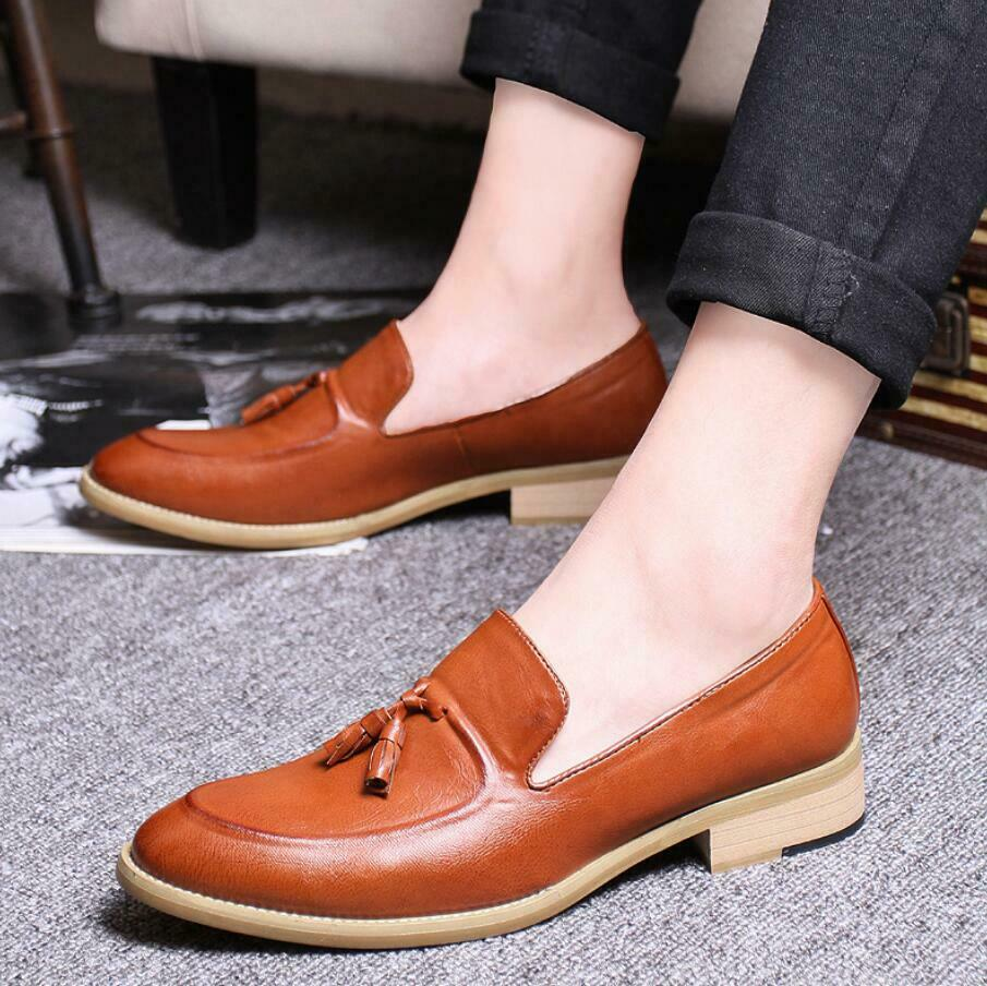 Oxfords New Mens Slip On Loafers Casual shoes Dress Formal shoes Leather Tassels