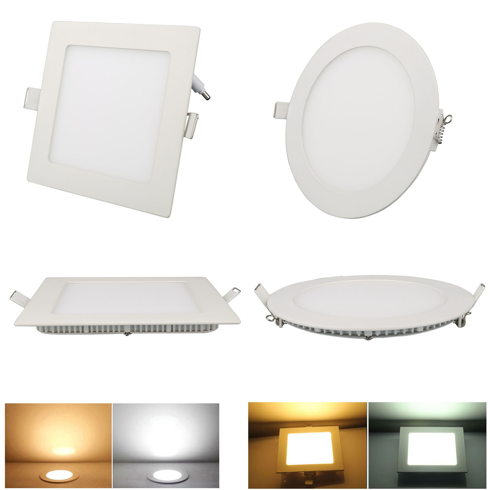 Dimmable Recessed Led Panel Light Roud Square Downlight Ceiling 3W-24W Thin Lamp