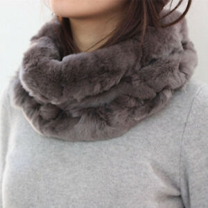 Women Lady Warm Real Rex Rabbit Fur Scarf Neck Collar Headband Infinity Muffler