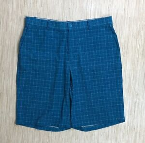 Nike-Golf-Dri-Fit-Blue-Plaid-Shorts-Men-039-s-Size-36-Flat-Front-Five-Pocket