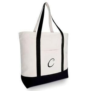 Image Is Loading Dalix Personalized Tote Bag Monogram Black Initial Cute