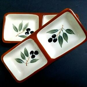 Inspirada-Olive-Design-Small-Rectangle-Divided-Dish-StoneLite-Clay-Set-of-2