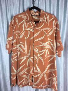 Cubavera-Mens-100-Viscose-Island-Button-Up-Shirt-Orange-w-Bamboo-Design-Size-L
